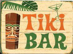 Tiki Bar Vintage Sign: Coastal Home Decor, Nautical Decor, Tropical Island Decor & Beach Furnishings