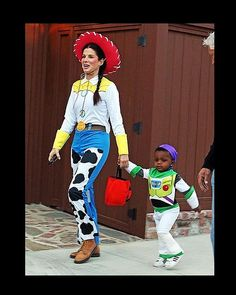 Sandra Bullock as Jessie, and son Louis as Buzz Lightyear. Ten shades of adorable.