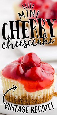 Cheesecake Cupcakes Recipe Easy, Cheesecake Desserts, Mini Desserts, Cupcake Recipes, Easy Desserts, Baking Recipes, Delicious Desserts, Mini Cherry Cheesecakes, Cherry Cupcakes