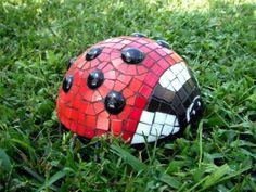 Ladybug mosaic.  Lawn Rocks