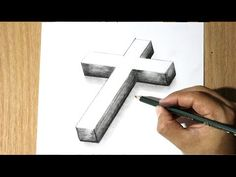 Drawing Design Como Dibujar una Cruz - How to Draw a cross - Como Dibujar a Jesus - Easy 3d Drawing, Cross Drawing, 3d Art Drawing, Drawing Ideas, Pencil Drawings For Beginners, 3d Pencil Drawings, Easy Drawings For Kids, 3d Illusion Drawing, Illusion Art