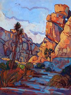 Joshua Tree National Park oil painting by rock climbing artist Erin Hanson #OilPaintingLandscape