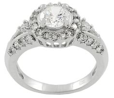 Journee Collection High-polish Sterling Silver Round-cut Cubic-zirconia Ring (11), Women's, White