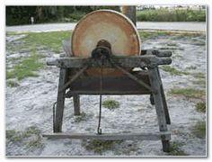 Antique Grinding Stone Pedal Wheel W Seat Sandstone