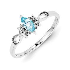 Sterling Silver Genuine Diamond And Sky Blue Topaz Ring , - Sparkle & Jade - 1