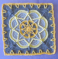 "Spiro Star - free crochet square pattern by Helen Shrimpton. Measures 12"" with worsted weight yarn and 5.5mm hook, 10"" with dk yarn and 4mm hook."