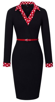 online shopping for HOMEYEE Women's Vintage Turn Down Collar Black Pencil Business Dress from top store. See new offer for HOMEYEE Women's Vintage Turn Down Collar Black Pencil Business Dress Black Women Fashion, Womens Fashion For Work, Woman Fashion, Vintage Outfits, Vintage Fashion, Dress Vintage, Dress Clothes For Women, Dresses For Work, Women's Fashion Dresses