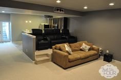 Theater seating in basement remodel - love this idea @Donna Brienza