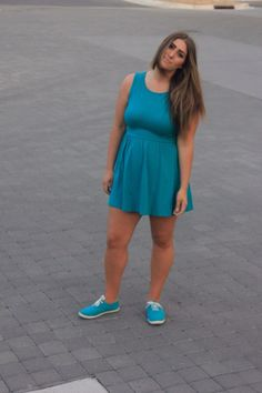 teal monochromatic Forever 21 outfit with dress and tennies