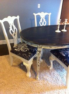 Shabby Chic Queen Anne Dining Room Table Chippendale Chairs By WeChicdIt    We Can Chic It