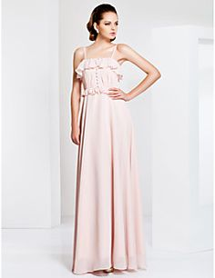 Sheath/Column Spaghetti Strap Floor-length Chiffon Evening/Prom Dress