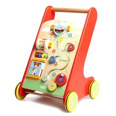 Toddler's wooden activity walker from Tidlo Toys. Buy it from Cottage Toys at www.cottage-toys.co.uk #children's toys #activity walker #traditional toys