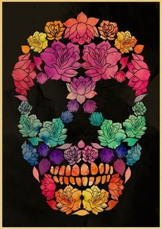 Custom retro poster Art sugar skull poster kraft paper wall poster print home decorative (With images) Sugar Skull Tattoos, Sugar Skull Art, Sugar Skulls, Sugar Skull Drawings, Sugar Skull Painting, Retro Poster, Candy Skulls, Poster Wall, Poster Prints