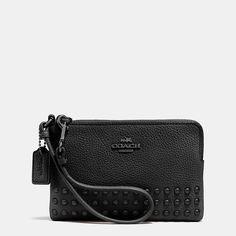 Corner Zip Wristlet in Lacquer Rivets Pebble Leather