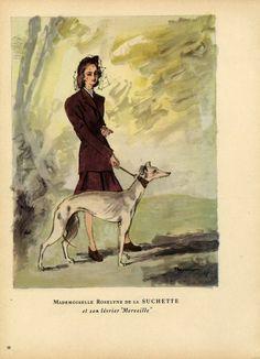 Pierre Mourgue 1947 Roselyne de la Suchette (Greyhound) & Amédée de Broglie (Poodle)