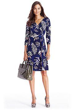 New Julian Two Silk Jersey Wrap Dress in in Snake Leaves Indigo