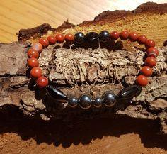 Bracelet en pierres naturelle constitué de jaspe rouge et hématite