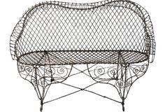 Antique Wire Garden Bench