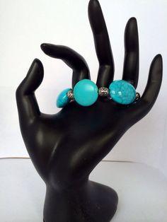 Teal beaded bracelet  on Etsy, $6.00