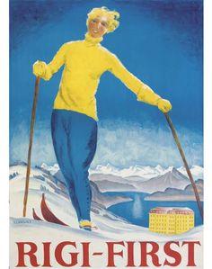 1961 VW Van Vintage Skiing Poster