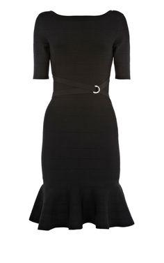 Karen Millen Frill Skirt Bandage Knit Black ,fashion  Karen Millen Solid Color Dresses outlet