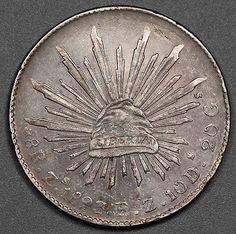"1893 Мексика Республика zs fz 8 реалов серебряная монета xf + ""колпачок и лучи"" красиво тонирован"