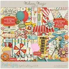 Midway Magic digital scrapbooking Page Kit great for a Disney Toy Story Mania scrapbook page
