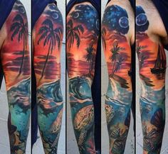 Image result for beach sleeve tattoo