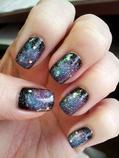 My attempt at Galaxy Nails