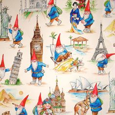 textiles: Gnomes and landmarks
