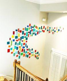 Art Installation | 3D Wall Art | Colorful Wall Art | Entry Wall Decor | Large Wall Art | Wood Wall Sculpture | Rosemary Pierce Modern Art | www.RosemaryPierceModernArt.com 3d Wall Art, Colorful Wall Art, Large Wall Art, Art 3d, Modern Artwork, Modern Wall Art, Modern Artists, Geometric Wall, Wall Sculptures