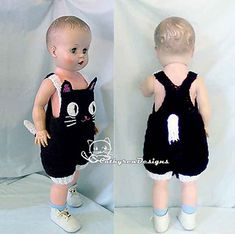 This black cat baby overall is perfect for Halloween baby costume.