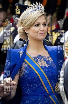 Intronisation Willem IV. La Reine Maxima porte le diadème saphirs créé par Oscar Massin et Mellerio