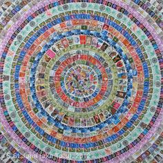 """Stampedelic, mixed media on canvas, 24""""x24""""    I have been working on a series of collages where the main, or only, source of collage material is old postage stamps.  Poland, the U.K., Austria, Australia, Nicaragua, Germany, Canada, the U.S., see how many countries you can find...."""