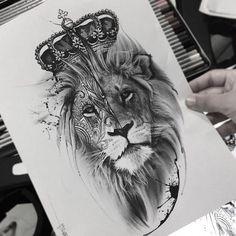 ▷ 1001 + cool lion tattoo ideas for inspiration - realistic lion head . - ▷ 1001 + cool lion tattoo ideas for inspiration – realistic lion head drawing, tattoo template - Leo Tattoos, Animal Tattoos, Cute Tattoos, Body Art Tattoos, Girl Tattoos, Sleeve Tattoos, Tattoos For Guys, Tatto For Men, Lion Head Tattoos