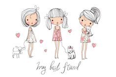 cute girls with dogs by NatalyS on @creativemarket