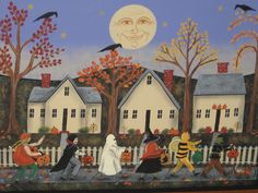 Trick or Treating In New England  Original Folk Art By Raney White