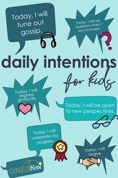 Want to help kids set intentions but aren't sure where to start? Read this to get a conversational guide for helping kids begin each day mindfully! Elementary School Counselor, School Counseling, School Classroom, Elementary Schools, Group Counseling, Primary Education, High Schools, Health Education, Physical Education