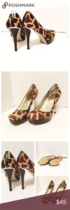 """Tres Chic heeled platform pumps! Casual fashion! Gorgeous & Classy Giraffe/ Animal Print Pattern! Perfect for Parties, Night Out, Bachelorette Party, Church , Weddings, even the Office/ Work Place! • New NWOT • Tan & Brown Pony / Calf Hair & Dark Brown Patent Leather with a hint of gold! 1"""" Platform and about 5"""" Heels • smoke free home • Size 9M • God bless & happy poshing!! Guess by Marciano Shoes Heels"""