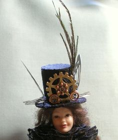 Miniature Steampunk Top Hat for a 1:12 Scale Doll by MostlyArt