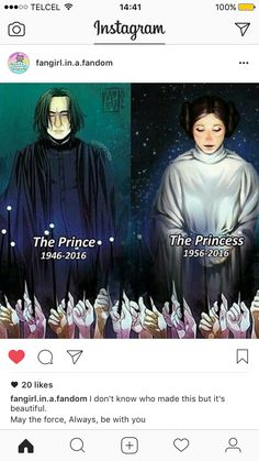 RIP Alan Rickman (aka Severus Snape) and Carrie Fisher (aka Leia Organa Solo Skywalker) Harry Potter Welt, Harry Potter Memes, Star Wars Rebels, Geeks, Choses Cool, Scorpius And Rose, Kevedd, Tribute Von Panem, Severus Rogue