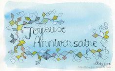 Happy Birthday Joyeux Anniversaire Watercolored by thevysherbarium, $4.20