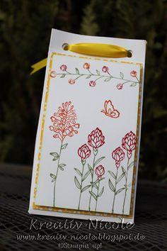 Eine schnelle #Tüte mit dem #stanz und #falz #brett von #StampinUp!. Die #tüte mit #Blumen#stempel verziert, so hat man eine schnelle #Verpackung die schön aussieht.  #KreativNicole