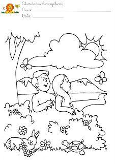 Atividades Evangelicas Desenhos Para Pintar Adao E Eva Adao E