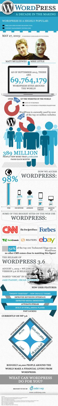 WordPress: a Decade in the Making, an infographic - http://hosting.ber-art.nl/wordpress-a-decade-in-the-making-an-infographic /@Roberta Causarano Cruz Malonda|Art Visual Design V.O.F. - #SEO