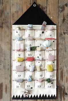 Homemade Advent Calendars For Kids. Ferm Living hanging advent calendar filled with presents.