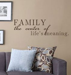 Vinyl Wall Decal-Family the Center of Life's Meaning- Vinyl Wall Quotes Wedding Gift Bedroom Decor by landbgraphics on Etsy