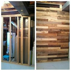 Partial wall to hide furnace in our laundry room! #palletwoodrepurposing#mor2becreated