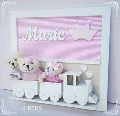 Porta Maternidade Trem Fam 3 Coroa rosa - REF 1180                porta maternidade,porta maternidade menina, porta maternidade coroa, decoração quarto de bebê,porta maternidade família, maternity door, porta maternidade marie,gkids