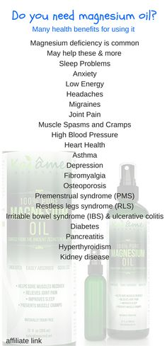 Huge health benefits for using magnesium oil.  Save pin to revisit later
